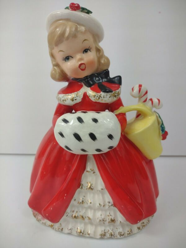 Vintage Napco Christmas Girl Planter Red Dress 1956 Cx2266c figurine