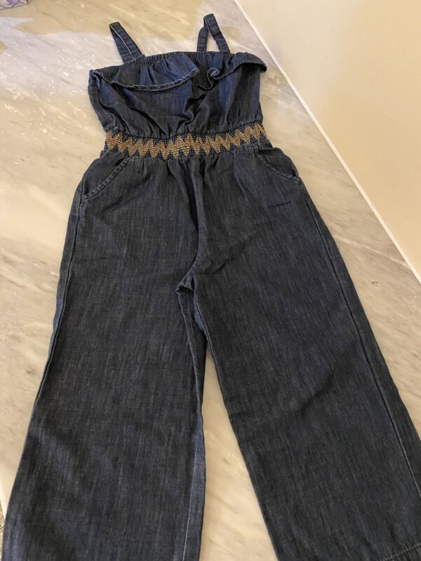cat and jack Girls Blue Jeans Romper Size 7/8