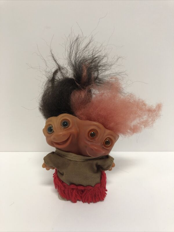 """1965 Uneeda Two Headed Troll Black And Pink Hair 4"""""""