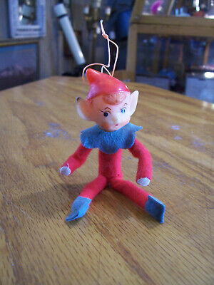 VINTAGE 1960S RETRO CHRISTMAS ORNAMENT ELF ON THE SHELF PLUSH MINI DOLL