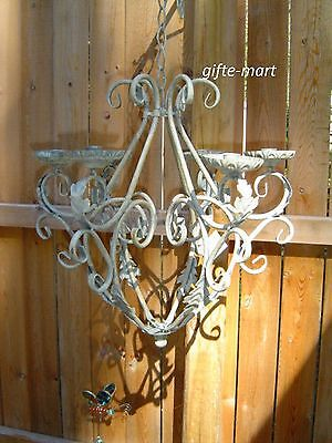 ivory distressed vintage iron scroll hanging Chandelier outd