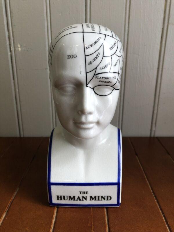 "Phrenology Head ""The Human Mind"" Ceramic Bust Statue Modern Psychology"