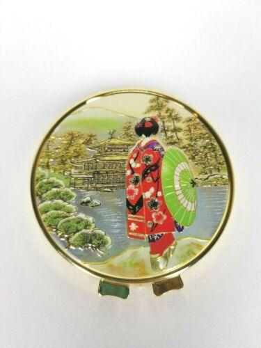 Vintage Chokin Art  24KT  Gold Plated Compact Mirror Japanese Geisha