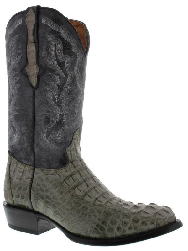 Mens, Gray, Genuine, Crocodile, Skin, Western, Leather, Cowboy, Boots, Head, Cut, Round, Toe