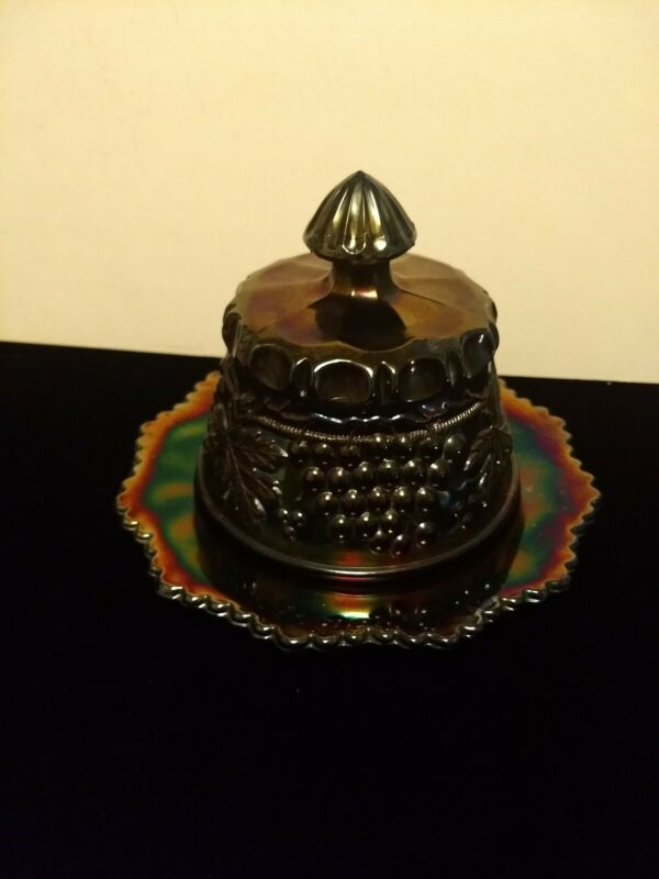 CARNIVAL STUNNING SIGNED NORTH WOOD  GRAPE & CABLE BUTTER DISH PURPLE
