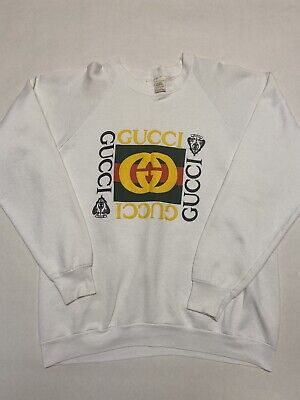Vintage White Bootlet Gucci Sweatshirt Fruit Of The Loom Size XL