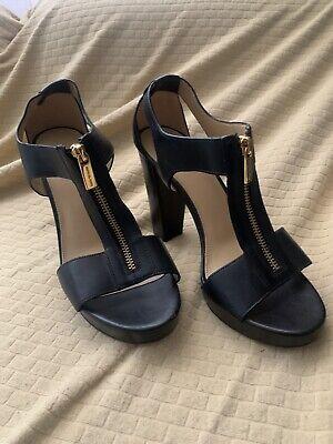 Michael Kors Size 8.5 Black High Heel Sandals PW16k Shoe Gold Zip Gold High Heel Sandals