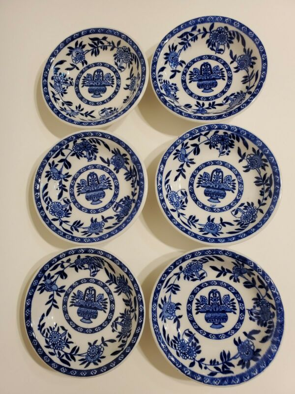 Set of 6 STERLING CHINA VITRIFIED-BLUE/WHITE FLOWER Butter/ Dipping Sauce Bowls