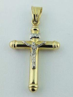 14K Solid Gold 2 Tone Italian Cross Pendant  . Cristo Italiano de oro de 14K 14k 2 Tone Cross Pendant