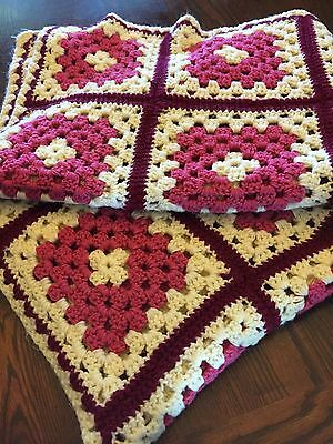 "Vintage Granny Square Afghan  Crochet Afghan Blanket Throw, 69""x45"" Hand Made"