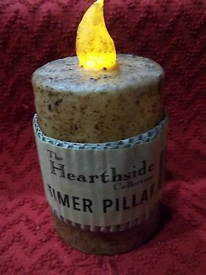"3"" Battery TIMER Votive Pillar Candle Primitive Burnt IVORY Rustic Flicker Flame"