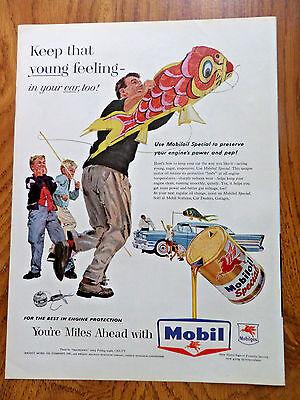 1958 Mobil Oil Gas Ad Kite Flying Oldsomobile 98 1958 Kellogg's Ad Bull fighter