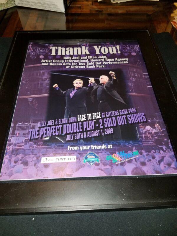 Billy Joel and Elton John Face 2 Face Rare Original Promo Poster Ad Framed! #8