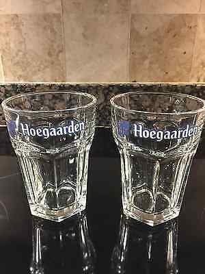 HOEGAARDEN BREWERY  BELGIUM PAIR OF NEW HEXAGONAL  0.33L  PUB GLASSES