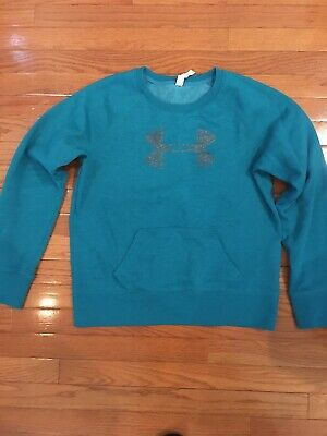 Under Armour Cold Gear Sweatshirt Size Large Logo Crew Green Preowned