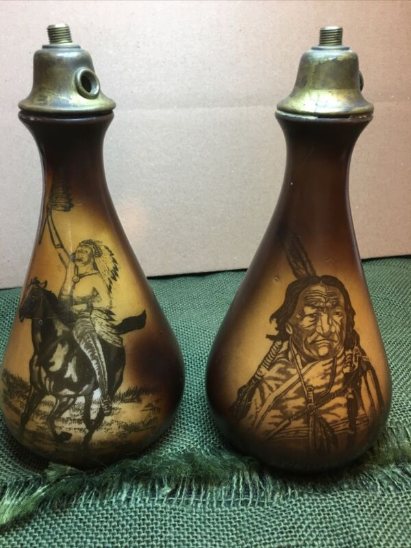 Two (2) 1910 WESTMORELAND ROOKWOOD MILK GLASS VASES NATIVE AMERICAN LAMP BASES