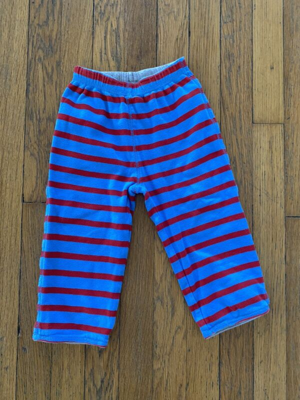 BABY BODEN Boys Striped Reversible Pants Knee Patch Blue Red Size 18-24 MO