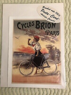 Vintage French Poster. Cycles BRION Paris. Canvas, New