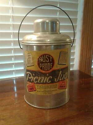 Vintage Faris Mfg. Rust Proof Aluminum Picnic Hot/Cold Jug w/Glass Liner And Cup