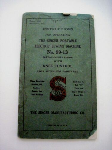 """Fantastic 1925 Booklet for """"Singer"""" Sewing Machine - Operating Instructions  *"""
