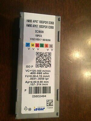 10 Pcs Iscar Hm90 Apkt 1003pdr Ic908 Carbide Inserts