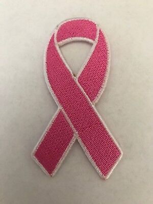 Breast Cancer Awareness Pink Ribbon Logo Patch Iron On Sew Hoodie Hat  In Stock*