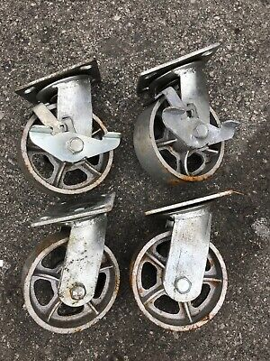 New Set Of 4 Vintage Industrial Cast Iron Casters 2 Rigid 2 Swivel