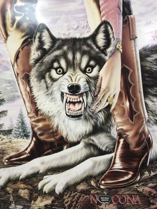 Nocona Boots Store Display Poster Advertising Alex Ebel Wolf Rodeo USA 1981