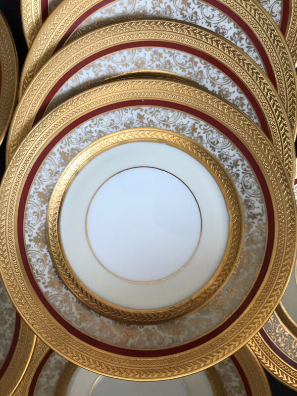 """Set 12 Antique Hutschenreuther Raised Gold Encrusted Empire Bread Plates 6.25"""""""
