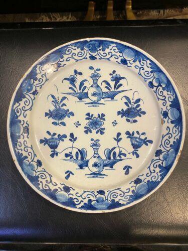 Antique 18th Century Dutch Delft Floral Faience Plate