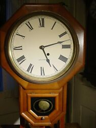 ANTIQUE SETH THOMAS WALNUT DROP OCTAGON SCHOOL HOUSE REGULATOR WALL CLOCK WORKS
