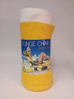 Terry Lounge Cover - Lounge Chair Cover with Pillow NWT Yellow and White Terry Cloth