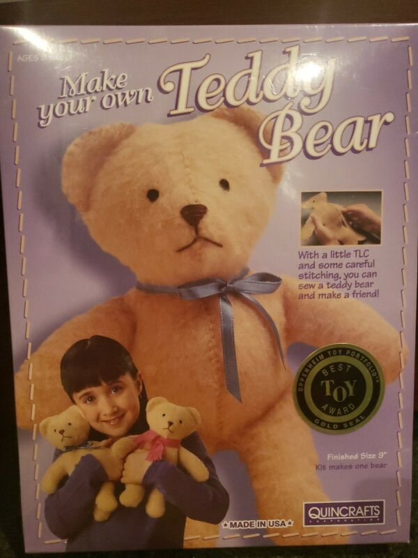 New Quincrafts Make Your Own Teddy Bear Kit Vintage, UNOPENED