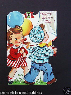 Vintage Unused Die Cut Get Well Greeting Card Boy and Girl with Balloons & Kite