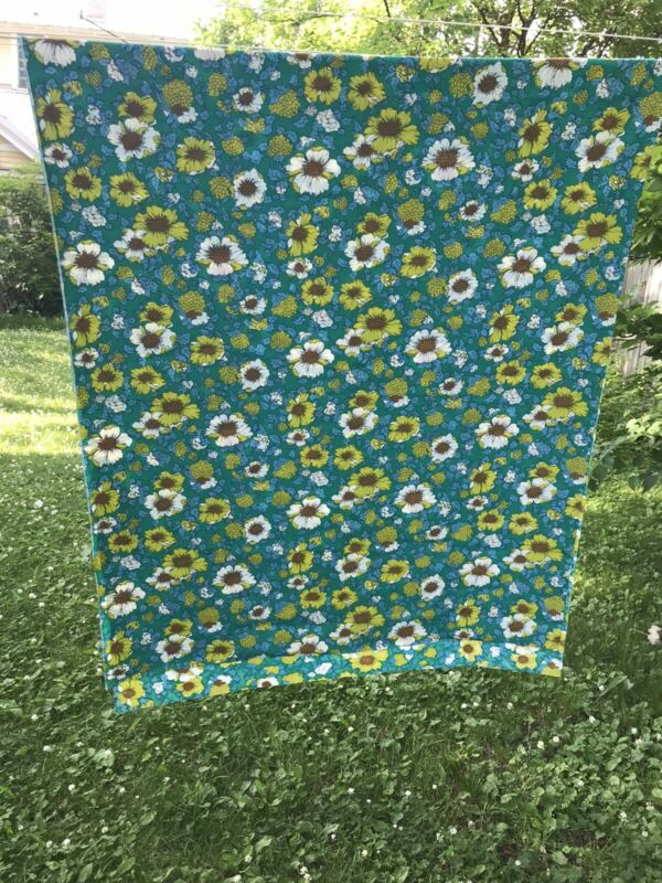 "Vintage Retro Mod Floral Flower Fabric 44""x 108"" Blue Green"