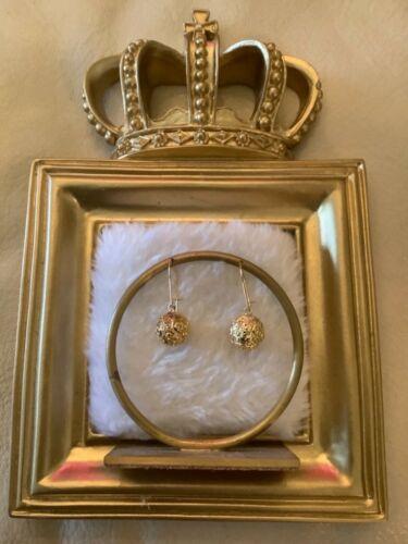 Antique Victorian 14K Yellow Gold Repousse Ball Dangle Drop Earrings