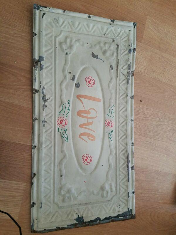 "24 1/4"" x 12 1/2"" Antique Ceiling Tin Metal Reclaimed Salvage Art Craft"