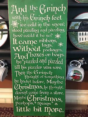 The Grinch Words Primitive Christmas Wood Sign  FREE SHIPPING!