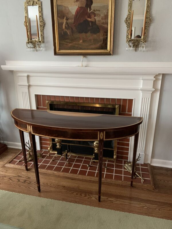 Hepplewhite Demilune Console Table by Stickley (Rare!) EXC.