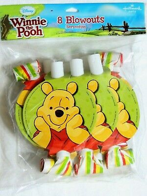 WINNIE THE POOH  -8 PARTY BLOWOUTS-     PARTY SUPPLIES