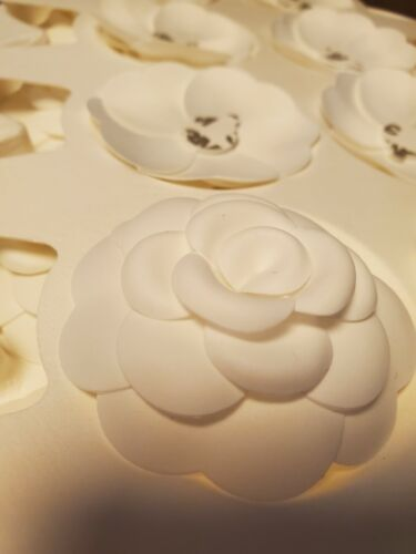 Lot of 20 Chanel Authentic 3D White Fabric Camellia Stickers Craft Brooch