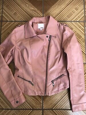 BONGO Juniors Faux Leather Motorcycle Jacket Pink Easy Zip Fitted Large EUC