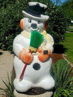 "Vintage 30"" Poloron Snowman w/Neon Green Broom Blow Mold Light Up Christmas"