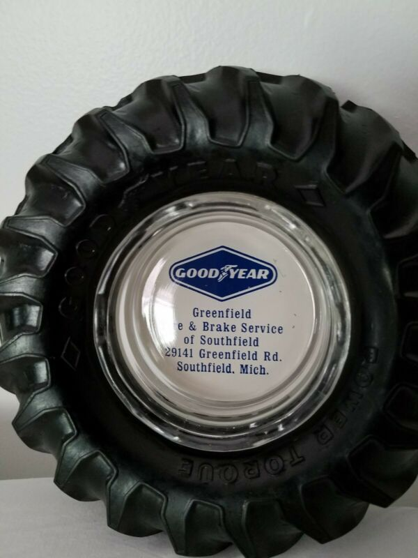 "Vintage Goodyear Ashtray Power Torque 6 1/2"" Loader Tractor Tire old advertsing"