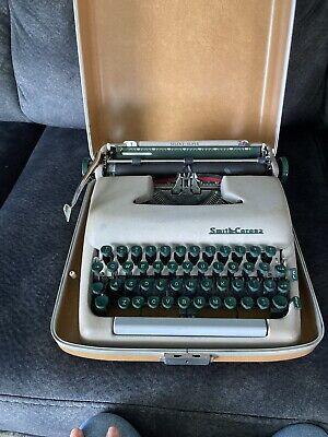 Smith Corona Silent-Super Typewriter and RARE Style Case & Green Keys, 1950's