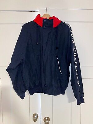 Vtg Nautica J-Class Sailing Nautica Challenge Spell Out Hooded Jacket Sz L Navy