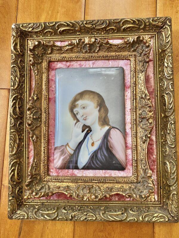 Rare Antique Victorian Porcelain Lady Portrait Plaque Frame HP KPM Style