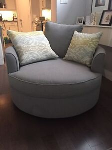 Chenille Accent Nesting Chair Grey