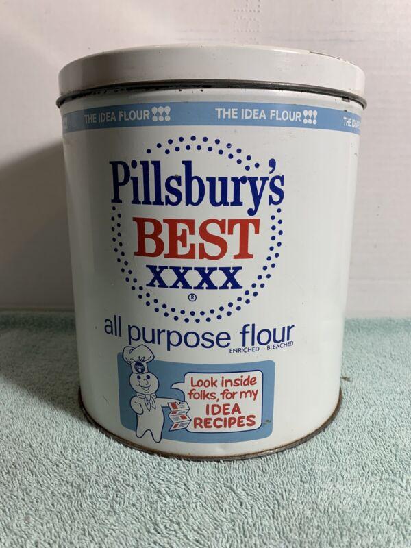 Vintage Pillsbury's Best XXXX All Purpose Flour Tin Metal Canister Button Lid