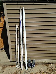 Cross country skis with poles and boots